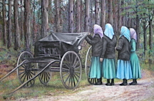 amish ladies traveling down the road, Iowa Amish painting